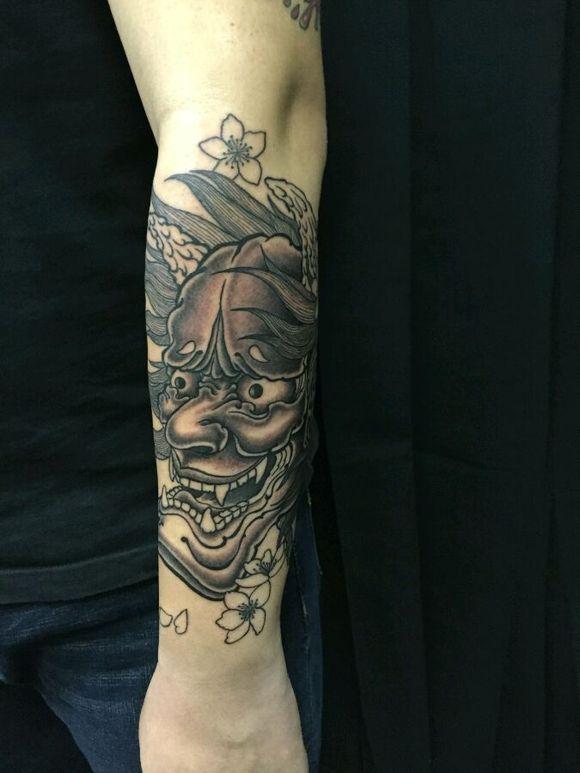 发个原创小臂般若纹身过程.手稿 (580x773)-墨针堂纹身tattoo宝坻纹图片