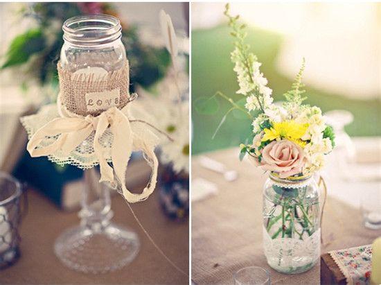玻璃瓶装饰出唯美小资范儿婚礼图片