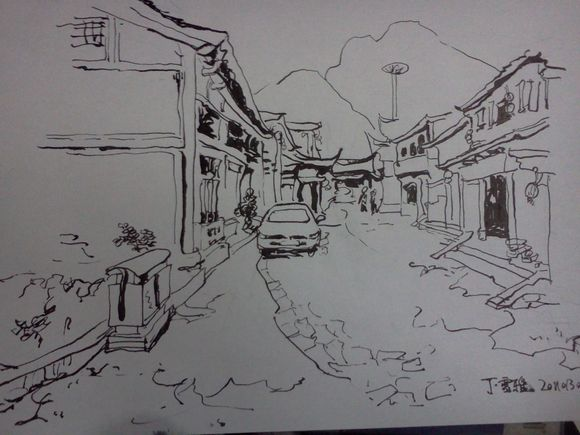 平遥古城 钢笔图片