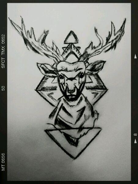 求纹身麋鹿手稿.谢图片