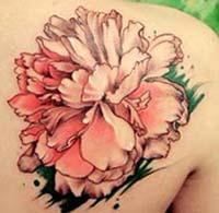 牡丹花纹身手稿线条分享展示图片