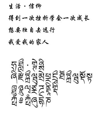 中文翻译梵文纹身图分享展示图片