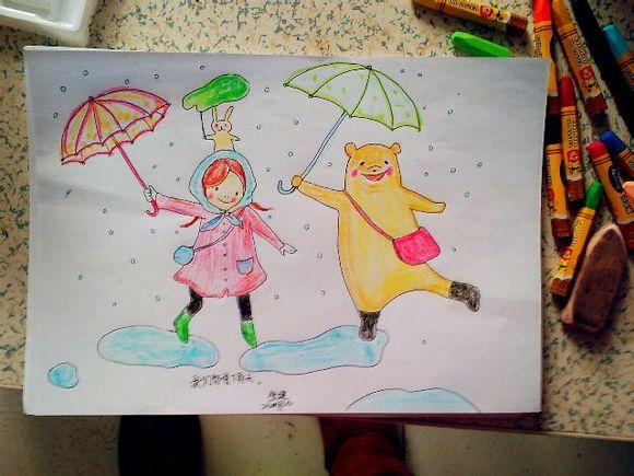 下雨天的画儿童画分享展示图片