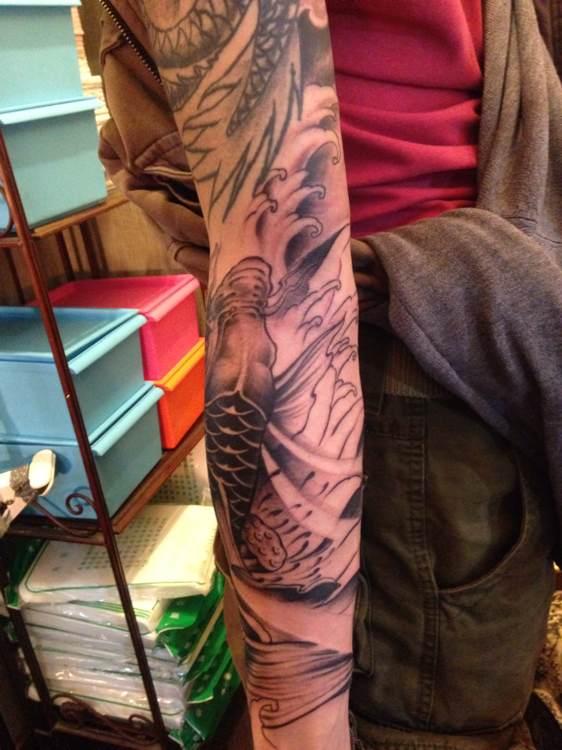 纹身图案鱼化龙图片