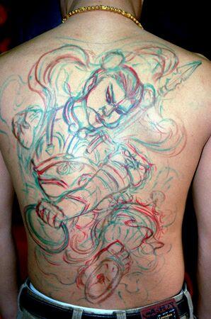 满后背莲花童子哪吒纹身图图片