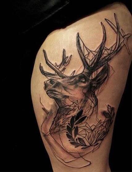上帝之眼鹿头纹身图案图片