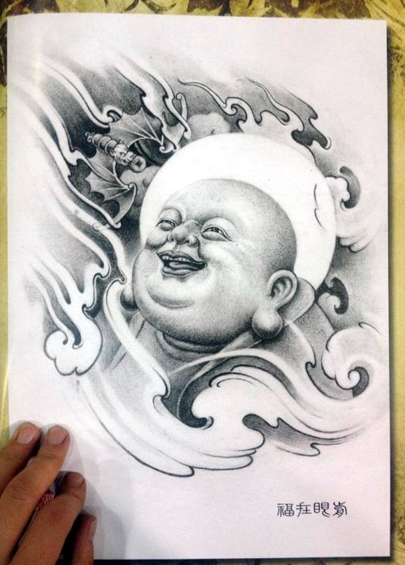 纹身手稿———佛 观音图片