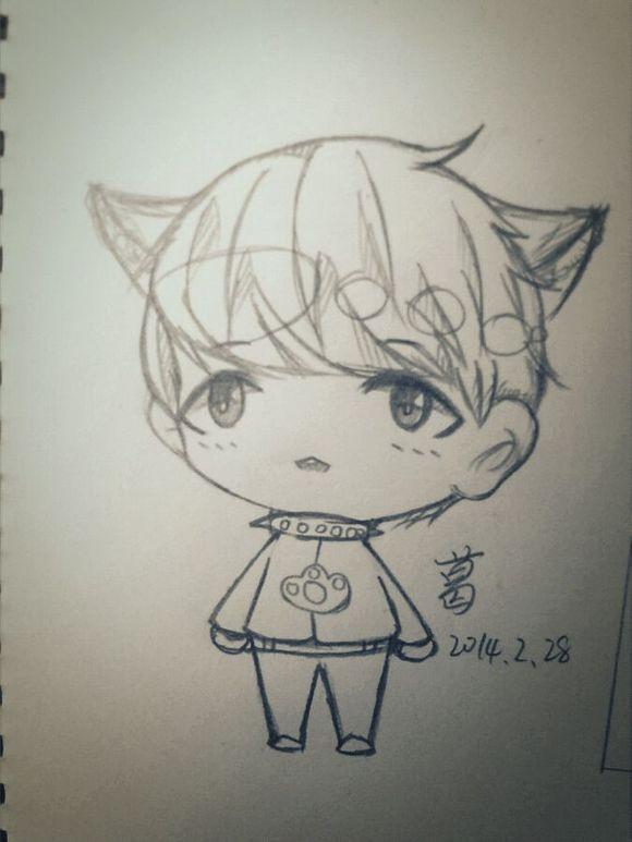 手绘exo卡通简笔画