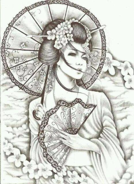 樱花艺妓纹身手稿图分享展示图片