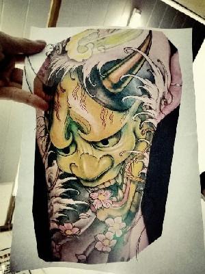 传统凶猛的般若莲花纹身图案图片