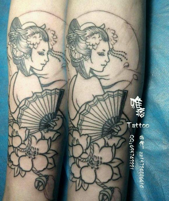 大量收集艺妓上身纹身!图片