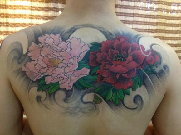 唯美漂亮的牡丹花纹身手稿图案图片