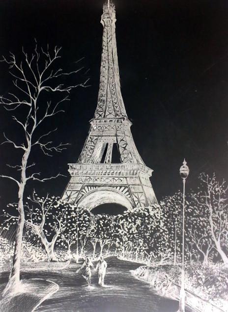 巴黎铁塔那幅画绘画过程
