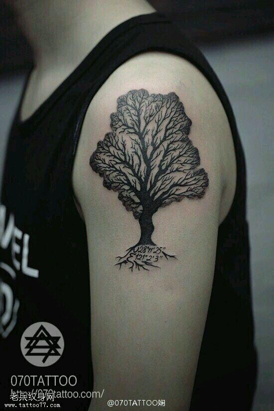 想纹一个生命树,再把两个孩子的出生日期也加上,寓意两个宝宝健康成长图片