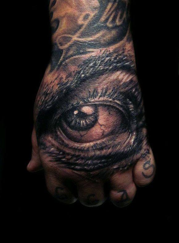 手背刺青,眼睛纹身图片