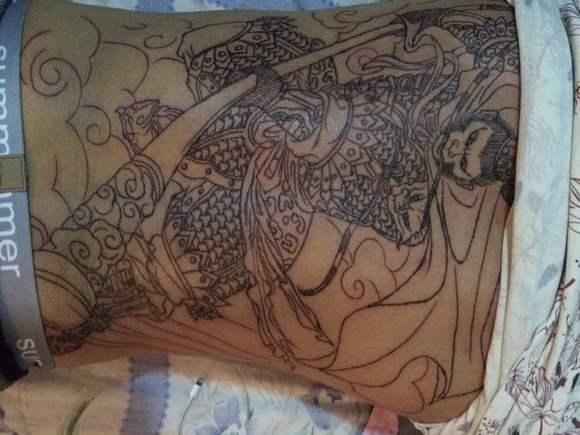 斗战神佛满背纹身手稿图分享展示图片