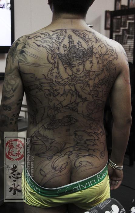 北京志永纹身人物佛神原创手稿系列之【四面佛】.图片