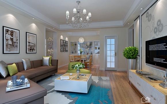 大洋五洲110平米三室两厅两卫现代简约装修效果图