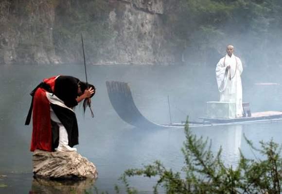 崔鹏-------妙僧无花 孤舟上端坐着个身穿月白色僧衣的