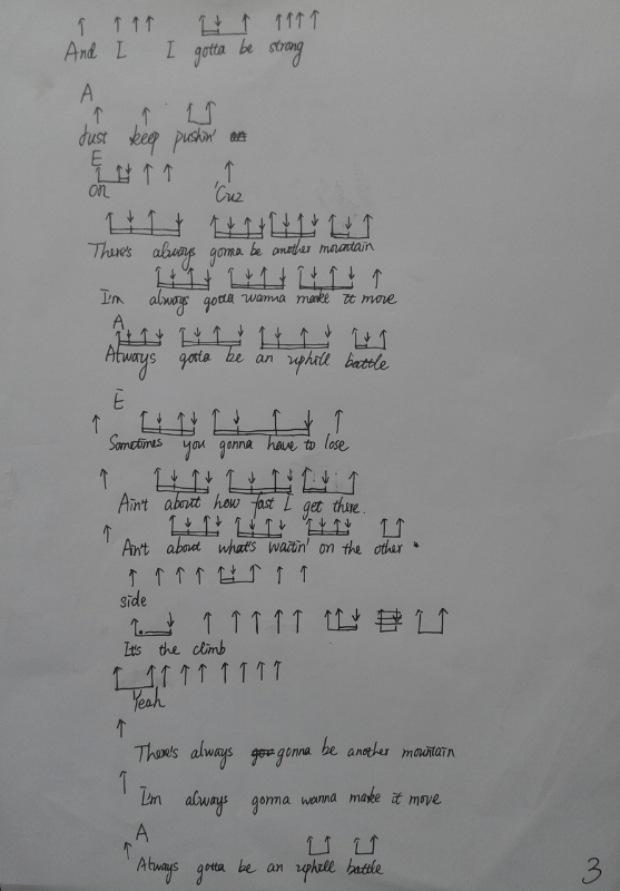 原创手写版miley cyrus《the climb》最易上手吉他谱图片