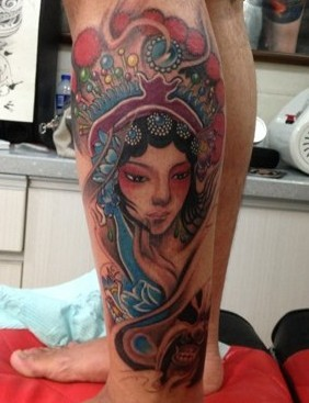 小腿佛头纹身图案手稿分享展示图片