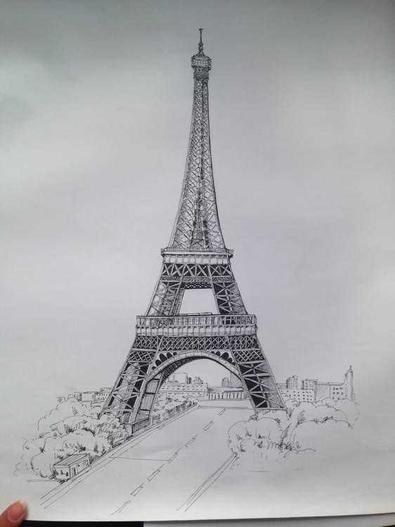 铁塔手绘图片 埃菲尔铁塔手绘高清图片素材下载