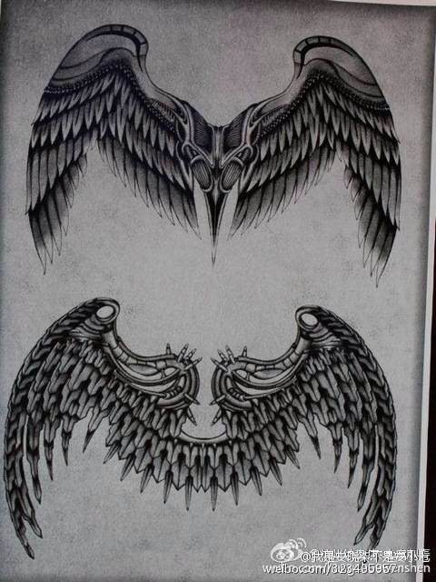 彩色玫瑰花爱心翅膀纹身手稿为北图片