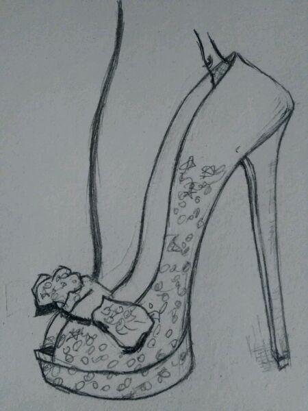 高跟鞋设计图手稿2016,短裙设计图手稿铅笔画,婚纱高跟鞋设计图手稿图片