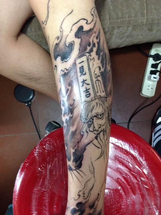 黑白无常纹身花腿分享展示图片