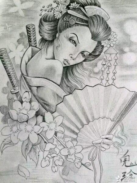 妩媚艺妓纹身手稿图分享展示图片
