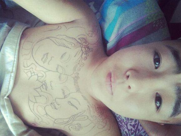 马志永三面佛纹身手稿图片