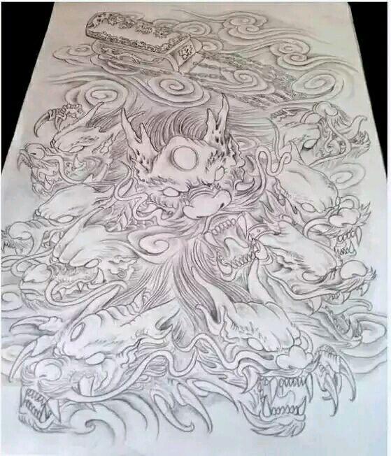 求九龙拉棺手稿图._纹身吧_百度贴吧图片