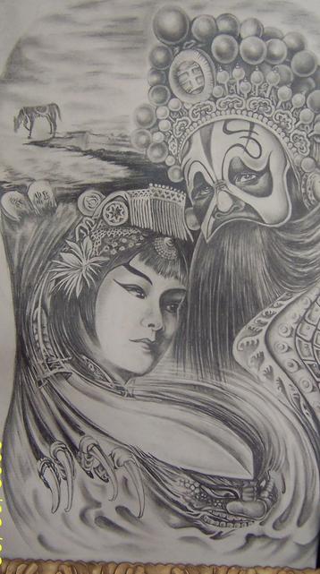 张国荣线条纹身分享展示图片