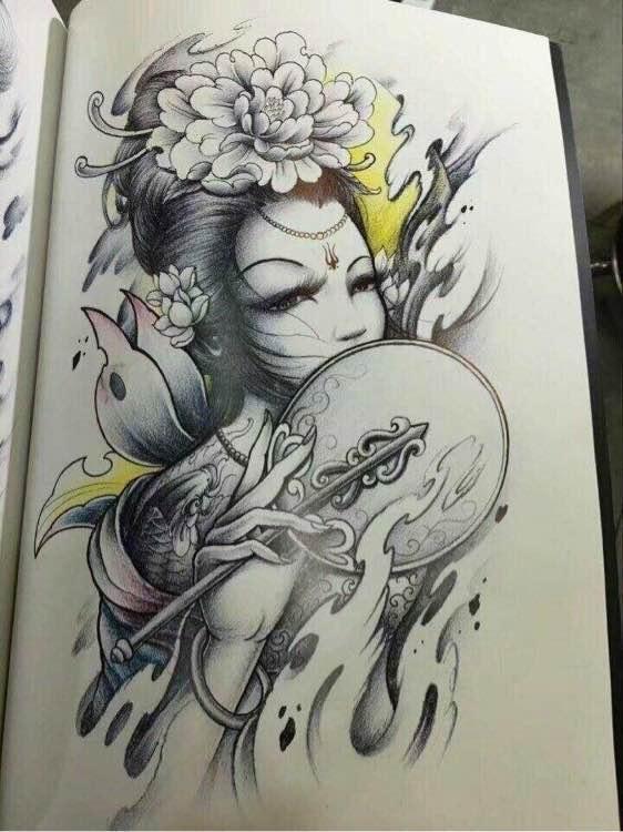求个类似貂蝉的纹身彩图图片