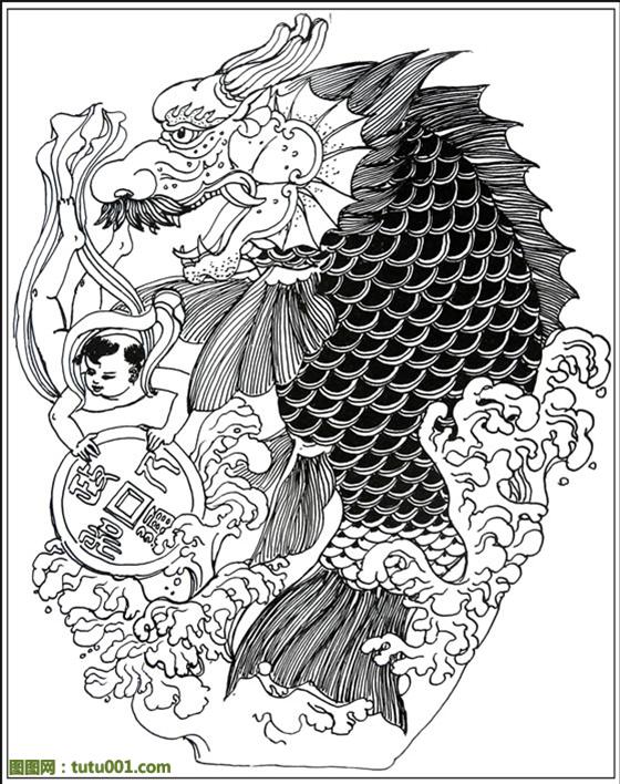 民国鱼化龙青花盘_纹身图案图片