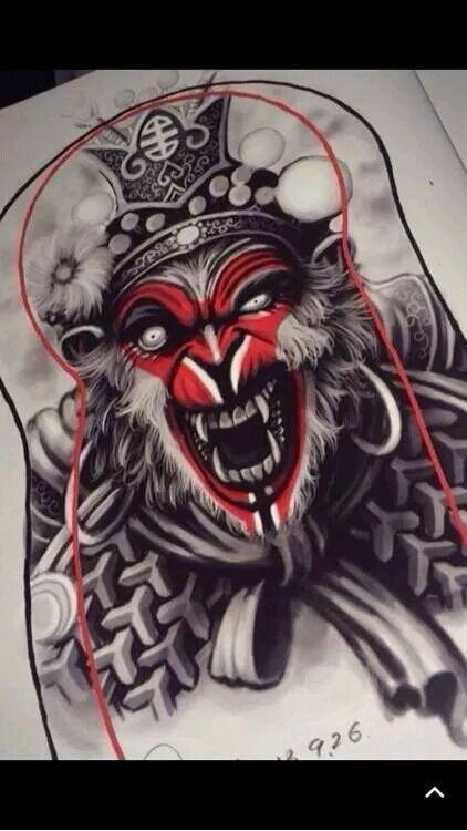 齐天大圣孙悟空纹身手稿图片图片