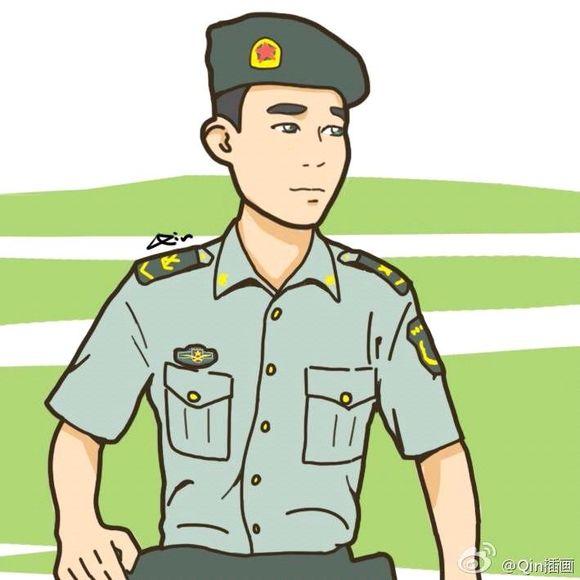 97qin插画,今天手机到了好多,好有爱的军旅漫画97