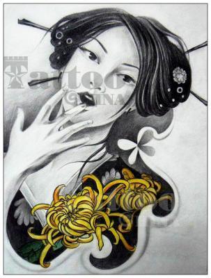 小臂艺妓纹身手稿图分享展示图片