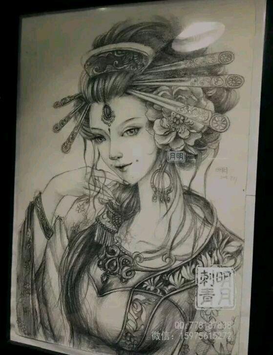 小臂艺妓纹身手稿图片