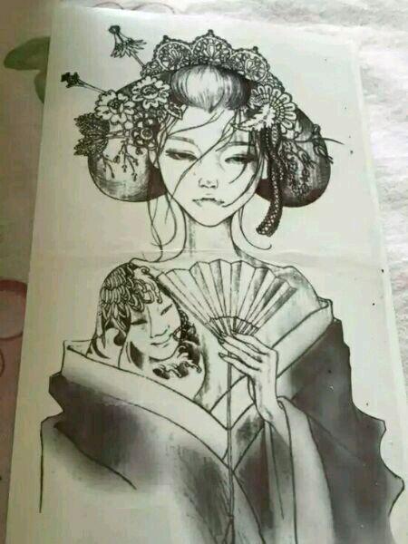 艺妓纹身手稿图 半臂分享展示图片