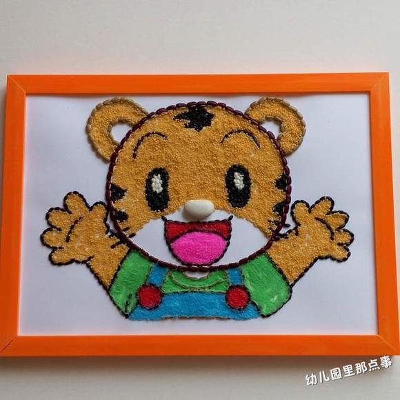 幼儿园五谷杂粮创意拼贴画,小小动物园乐不停图片