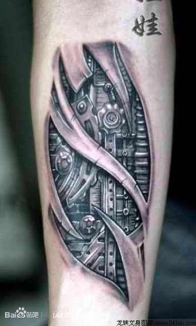 小腿3d骷髅纹身图案图片