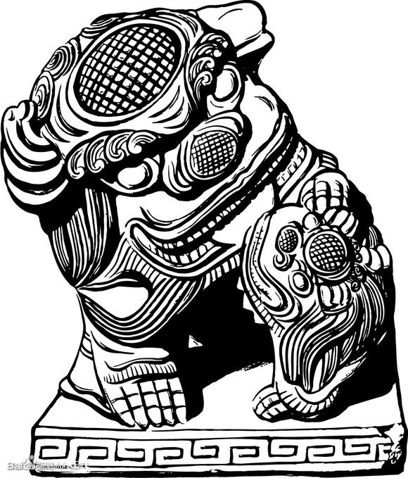 手背的写实石狮子纹身图案图片