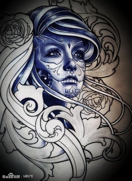 小丑纹身手稿图案图片