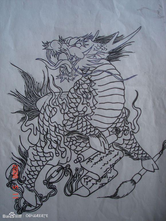 麒麟纹身手稿,芜湖永义堂纹身刺青,芜湖纹所未纹艺术工作室图片