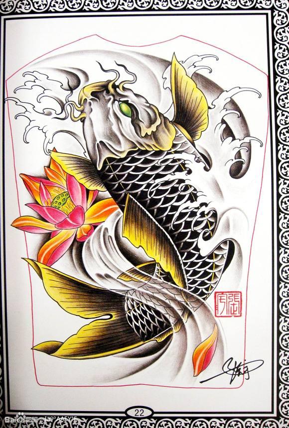 线条感的鲤鱼纹身手稿图片