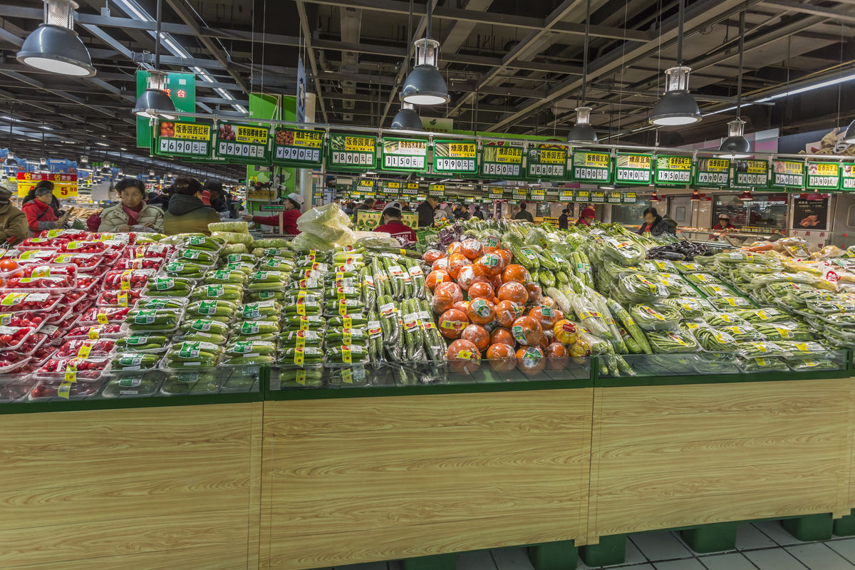 商品陈列,超市内景,瓜果区,卖场超市,进口水果,果蔬保鲜,蔬菜,新鲜图片
