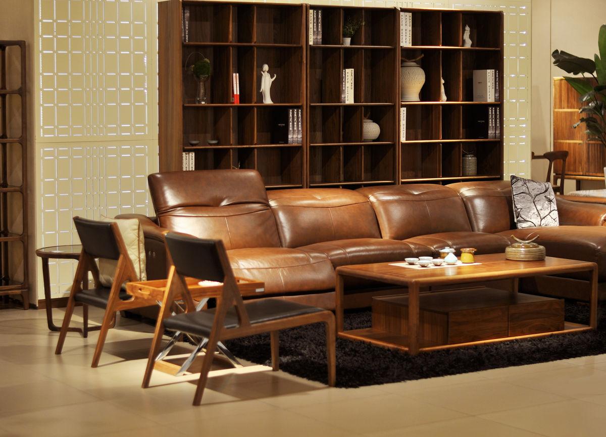 家居空间,室内装饰设计,装修设计,中式客厅设计,牛皮沙发,茶桌,木柜图片