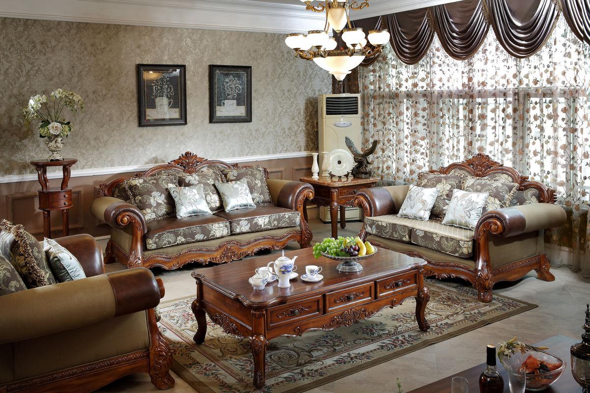 美式实木客厅沙发图片