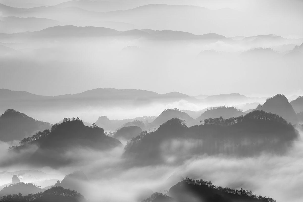茶山 水墨山川图片